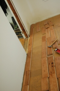 Flooring install: first few rows.