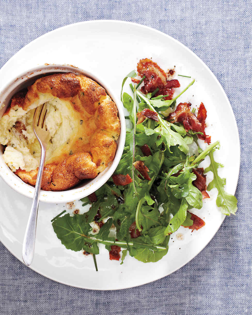 Martha Stewart Cheese Souffle with Bacon Arugula Salad
